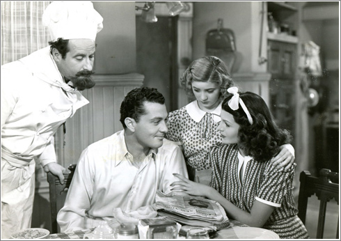 Tony with George Tobias, Edith Fellows, and Rita Hayworth in 'Music In My Heart' (1940).