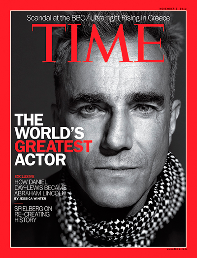 Non U.S. Time Covers Feature Daniel Day Lewis in 'Lincoln'