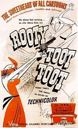UPA cartoons were in glorious Technicolor, but Columbia's posters were, unfortunately, produced in drab duotone.