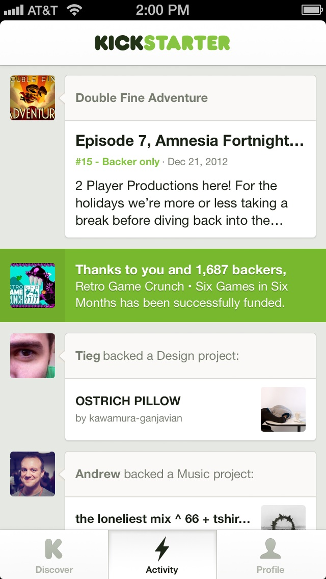 The activity interface on the iOS Kickstarter app.