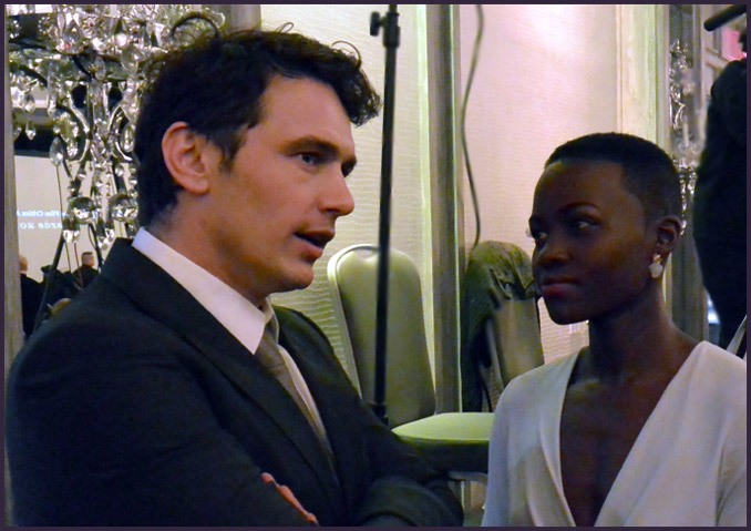 "Two other winners, James Franco (for ""Spring Breakers"") and Lupita Nyong'o (for ""12 Years a Slave"") chat before the dinner ceremony."