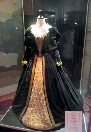 Beautiful vintage costumes like this gown worn by Lana Turner in 'The Great Garrick' were on display in the lobby of Grauman's Chinese Theatre.