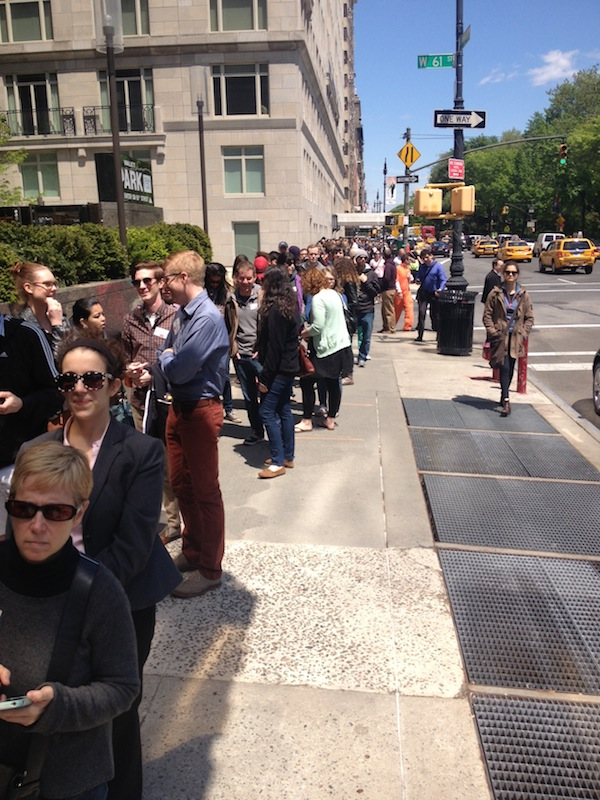 The line stretched from Columbus Circle at 59th street to 62nd street