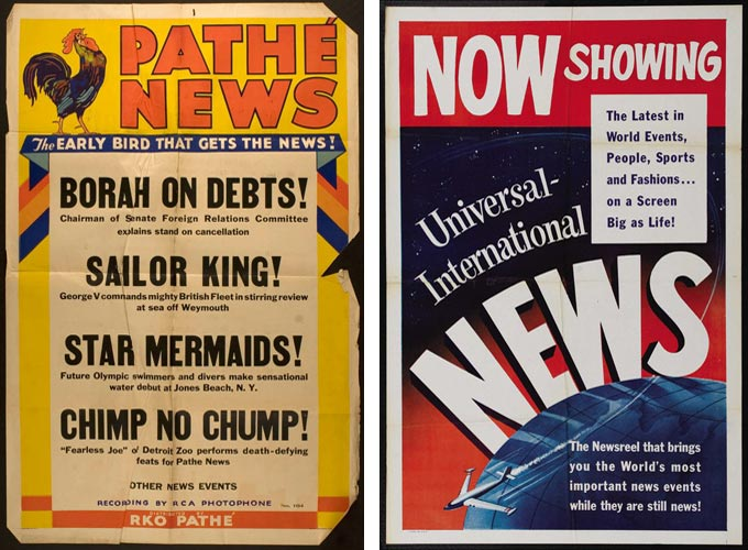 Here's a typical one-sheet poster for a Pathé newsreel release of the early 1930s and a stock one-sheet for Universal's newsreel, still hanging on in the 1960s