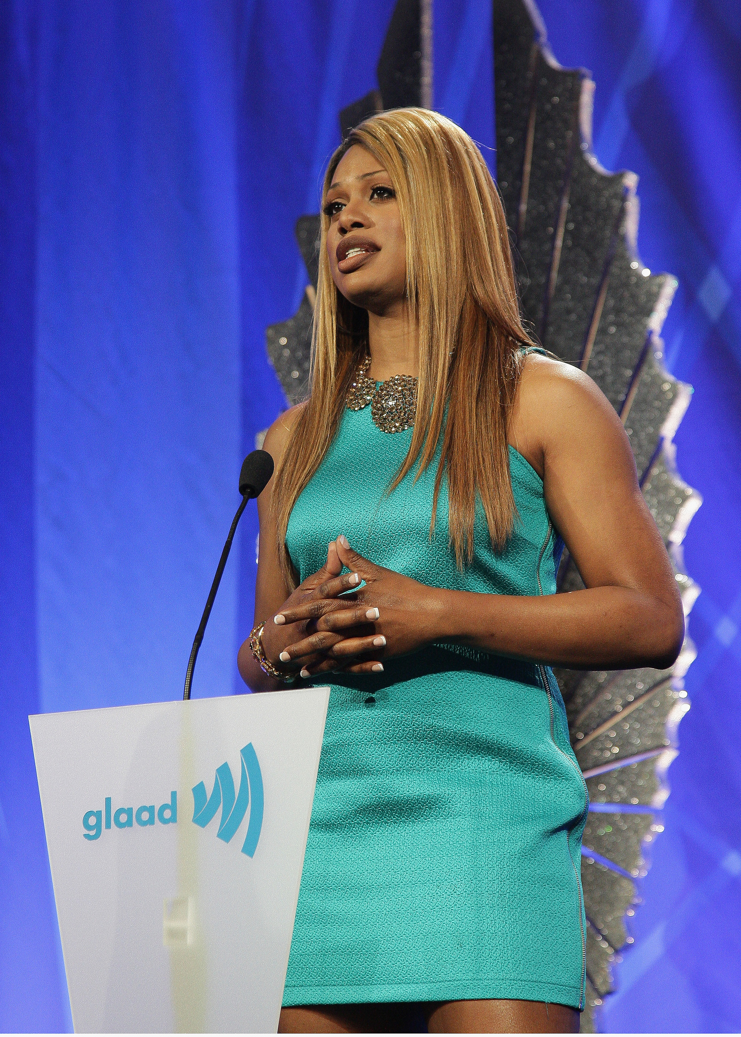 Laverne Cox addresses the attendees the 24th Annual GLAAD Media Awards - Photo by John Medina/WireImage