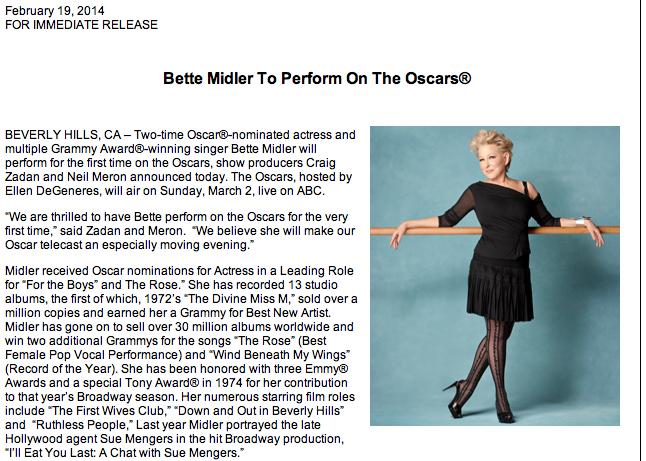 Bette Midler Oscars