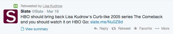 Lisa Kudrow Tweet