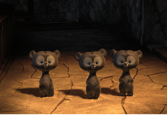 Three Bear Cubs in Pixar's Brave.