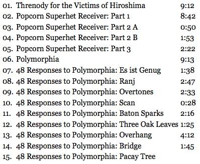 Jonny Greenwood & Krzysztof Penderecki Tracklist