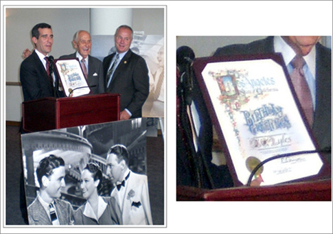 Mayor Eric Garcetti (then a City Council member) and fellow councilman Tom LaBonge present A.C. with a Los Angeles city proclamation at his 90th birthday party on the Paramount lot. Below the podium is a shot of a young, dashing A.C. Lyles with Dorothy Lamour and Lloyd Nolan, circa 1940.