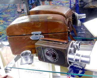 Here is the 16mm camera that shot the Bogart home movies we've seen in recent years; the case bears his initials H.D.B. (Humphrey DeForest Bogart).