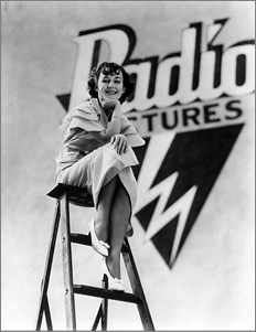 Contract player Anne Shirley poses in front of a studio soundstage. RKO never managed to build a roster of bankable stars, which made the studio vulnerable to the whims of someone like Katharine Hepburn.
