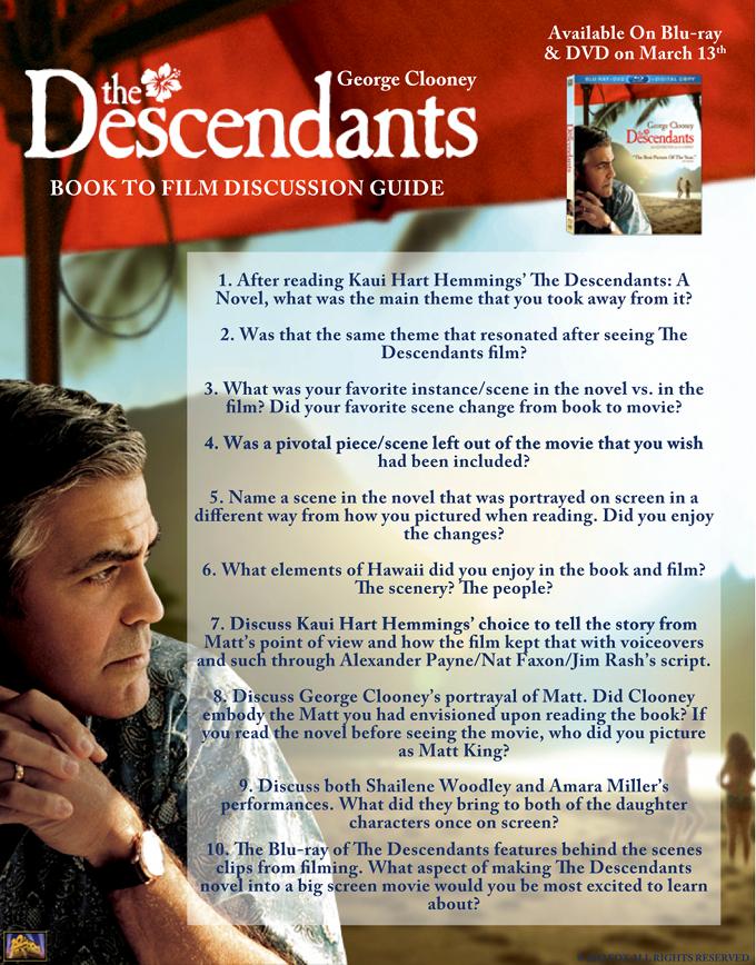The Descendants Book To Film Study Guide