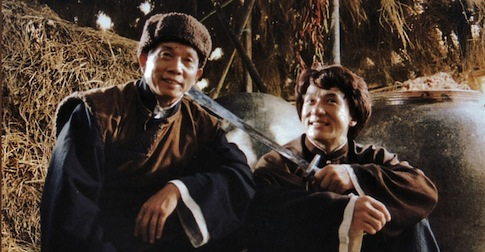 "Lau Kar-leung with Jackie Chan on the set of ""Drunken Master II"""