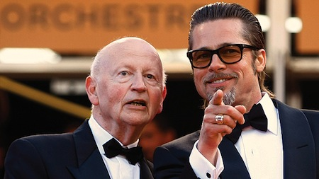 Gilles Jacob and Brad Pitt on the Red carpet in Cannes 2015