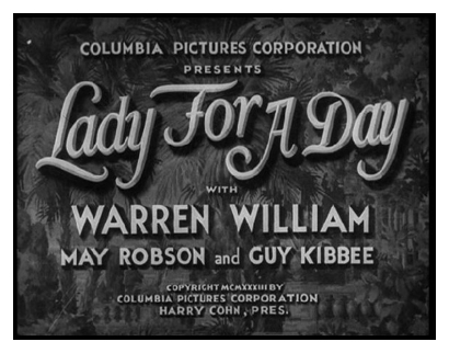 Original Film Element Main Title Card - 'Lady For A Day'