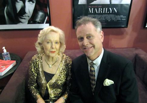 The Film Noir Foundation's Eddie Muller backstage with Gun Crazy star Peggy Cummins.