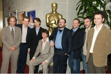 "February 20, 2007, at the Samuel Goldwyn Theater in Beverly Hills. Pictured here from the live action category with Academy Governor of the Short Films and Feature Animation Branch, Jon Bloom (far left), are, left to right: Ari Sandel, director ""West Bank Story""; Stuart Parkyn and Peter Templeman, producer and director, respectively, of ""The Saviour""; Borja Cobeaga, director of ""Eramos Pocos""; Kim Magnusson, executive producer of ""Helmer & Son""; and Javier Fesser and Luis Manso, director and producer, respectively, of ""Binta and the Great Idea."""