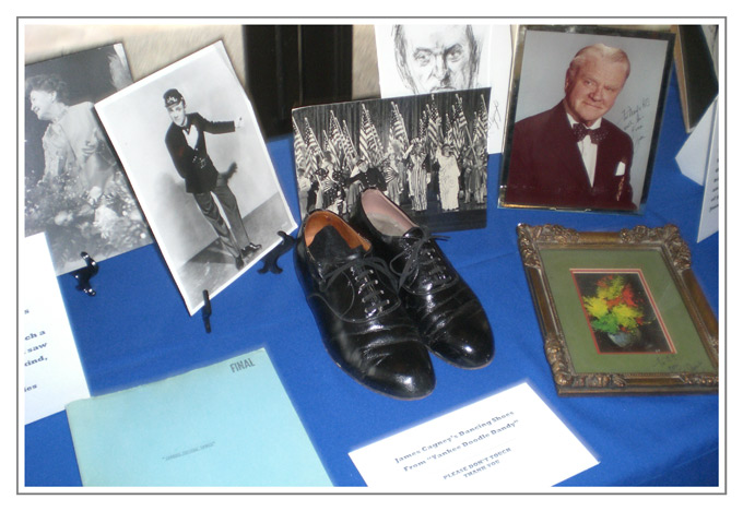 "Part of A.C.'s collection of James Cagney memorabilia—including tap shoes he wore in ""Yankee Doodle Dandy."""