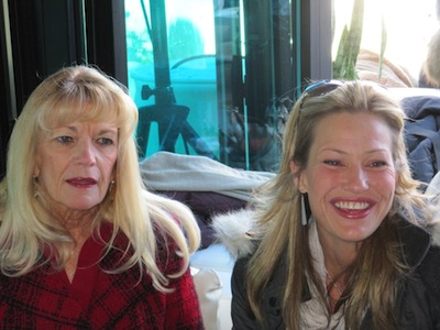 Actress Joey Lauren Adams on the right, honored her high school drama teacher Carol Ann McAdams at left at a Teachers Making a Difference Award luncheon.