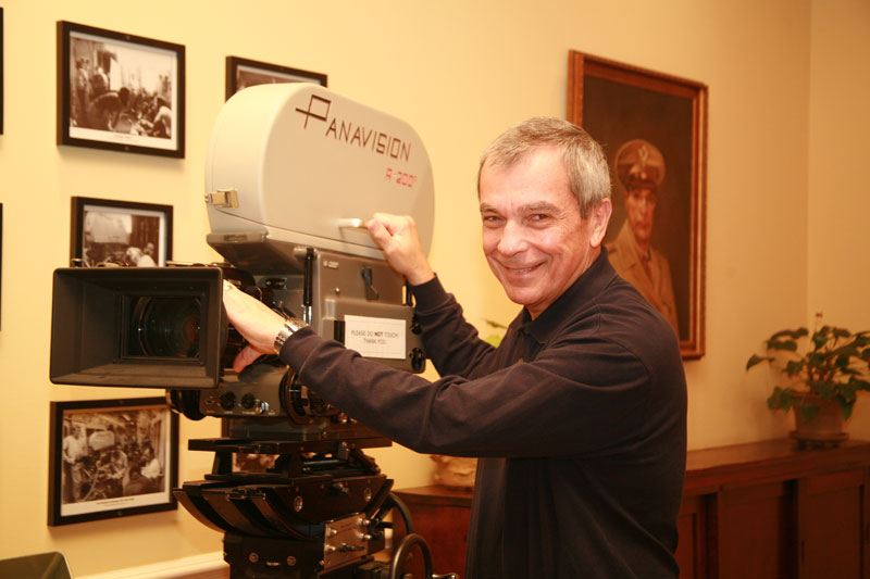 Stratton Leopold with his Panaflex camera
