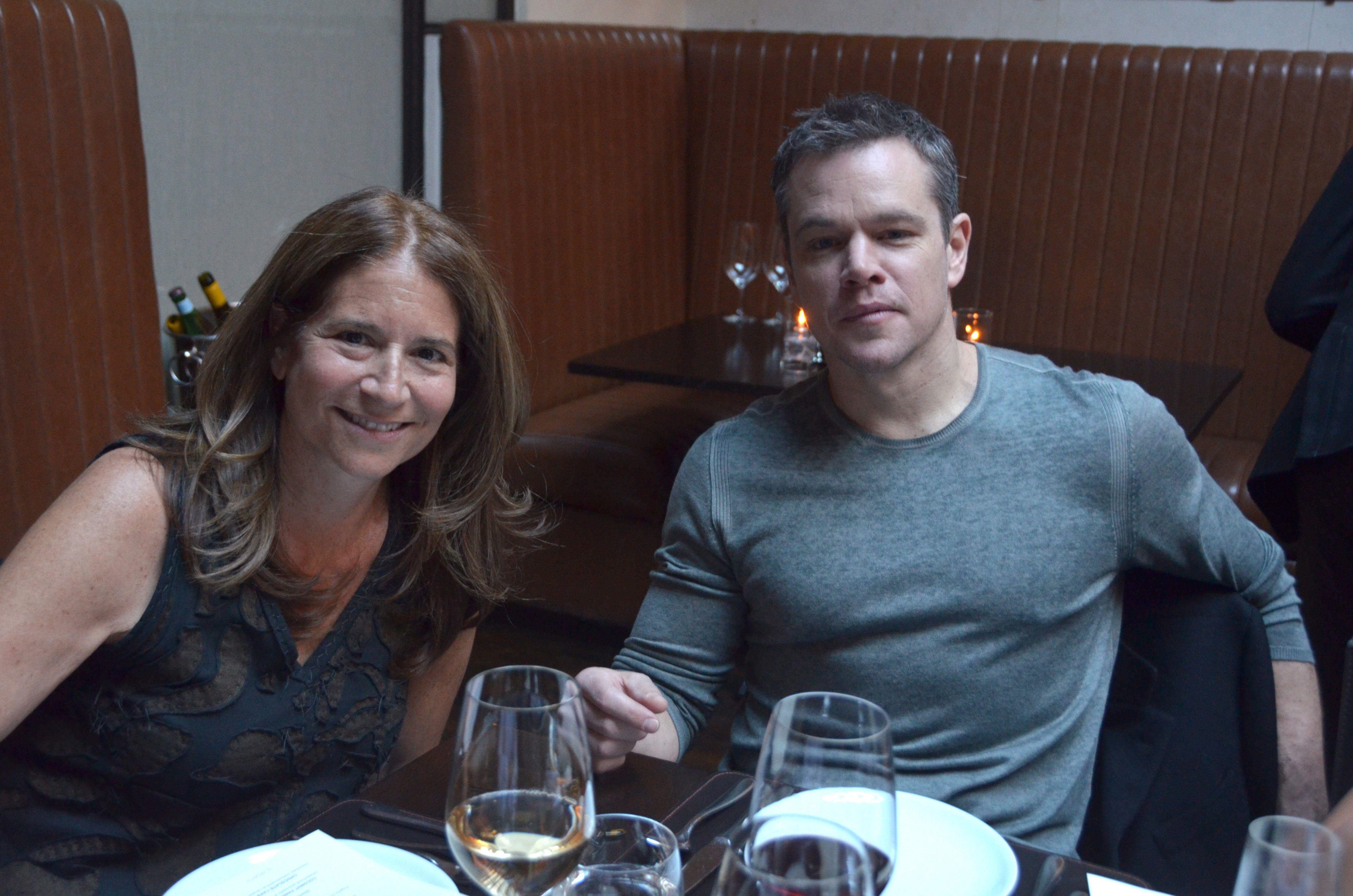 "Film Society board president Ann Tenenbaum and ""The Martian"" star Matt Damon"
