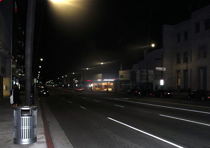 This is how Wilshire Boulevard looks outside the Academy headquarters about 5 a.m.
