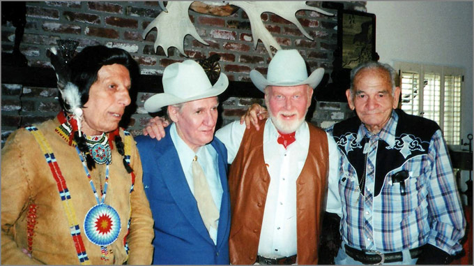 Four Western veterans reunite in the 1980s: Iron Eyes Cody, Pat Buttram, Harry Carey, Jr. Yakima Canutt
