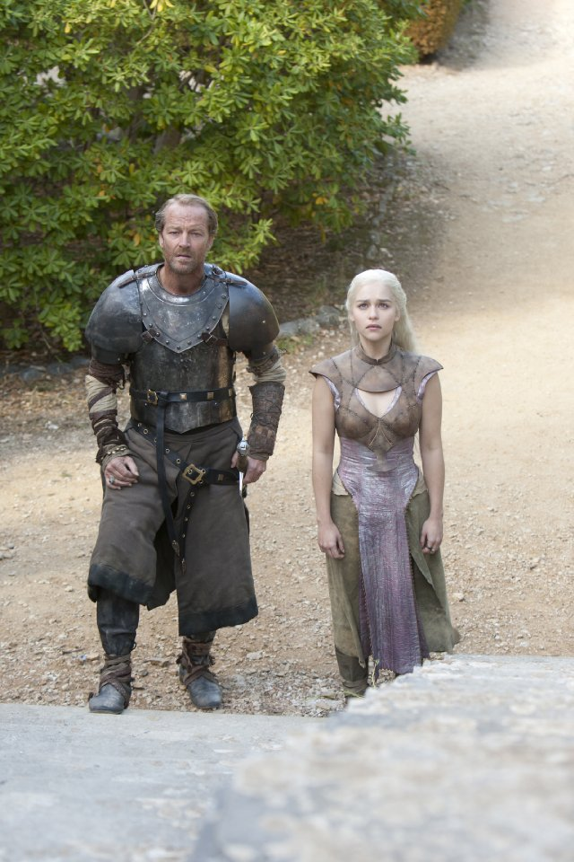 Daenerys (Emilia Clarke) and Jorah Mormont (Iain Glen) in 'Game of Thrones'