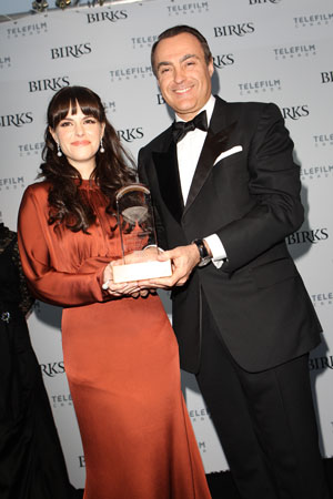 Emily Hampshire and Birks CEO Jean-Christophe Bedos