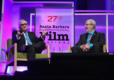 Martin Scorsese talks with Leonard Maltin at Santa Barbara Int. Film Fest.
