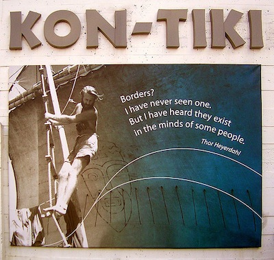 Not from the movie - the real life Thor Heyerdahl on Kon Tiki while sailing west on the Pacific
