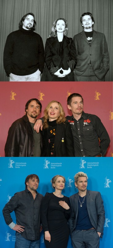 "Richard Linklater, Julie Delpy and Ethan Hawke at the Berlinale in 1995, 2004 and 2013 with each of the ""Before"" films."