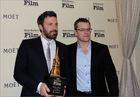 Ben Affleck and Matt Damon at the Santa Barbara Film Festival.