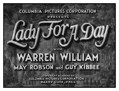 'Lady For A Day' Main Title Card - Restored Element