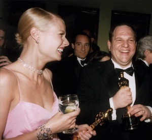 Gwyneth Paltrow and Harvey Weinstein with their Oscars for Shakespeare in Love, 1999.