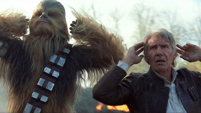 Chewbacca and Han Solo in 'The Force Awakens'