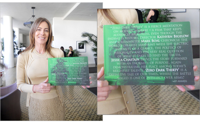 """Producer-director Kathryn Bigelow showed off a promotional booklet for"""" Zero Dark Thirty"""" that quotes the citation from this year's AFI jury."""