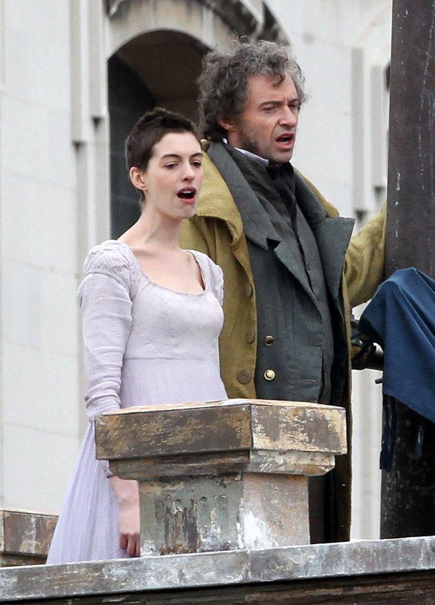 Anne Hathaway Hugh Jackman Les Miserables Set Photo Vertical