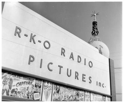 The RKO studio façade on Gower Street at the corner of Melrose Avenue, now part of Paramount Pictures.